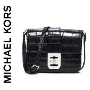 MICHAEL KORS BLACK LEATHER CROC EMBOSSED XBODY